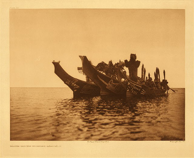 portfolio 10 plate no. 351 Masked dancers in canoes - Qagyhl, A