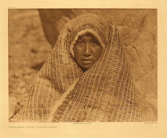 portfolio 11 plate no. 381 Nootka woman wearing cedar-bark blanket