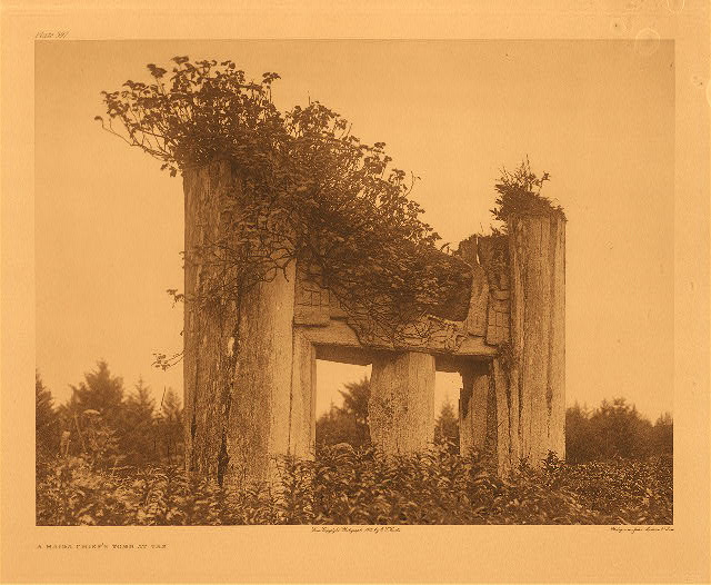 portfolio 11 plate no. 397 Haida chief's tomb at Yan