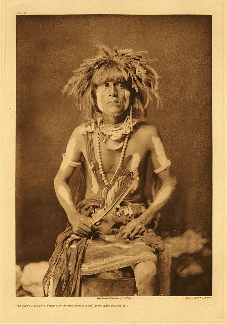 portfolio 12 plate no. 408 Honovi - Walpi snake priest, with Totokya Day painting