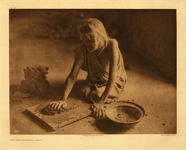 portfolio 12 plate no. 419 Potter mixing clay