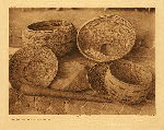 portfolio 14 plate no. 485 Pomo baskets, mortar, and pestle - photogravure plate