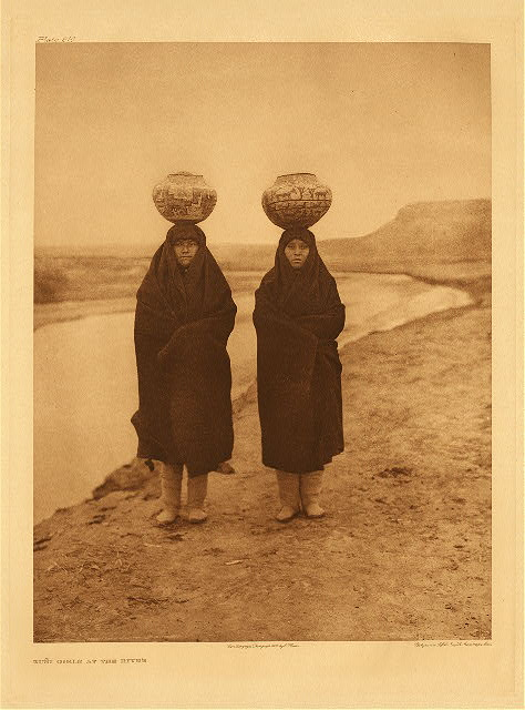 portfolio 17 plate no. 610 Zuni girls at the river