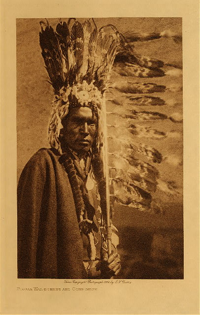 volume 6  facing: page  16 Piegan war-bonnet and coup-stick