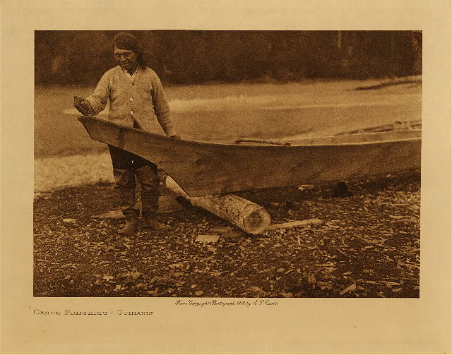 volume 9  facing: page  60 Canoe finishing - Quinault