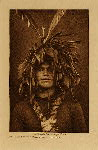 volume 9 facing: page  76 Warrior's feather head-dress - Cowichan - photogravure plate