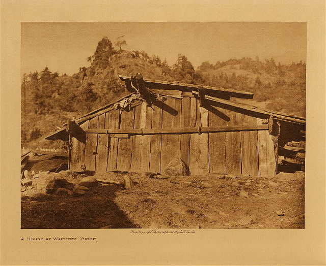 volume 13  facing: page  52 A house at Wakhtek - Yurok
