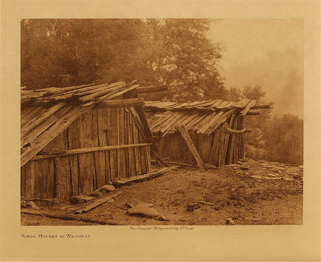 volume 13  facing: page  54 Yurok houses at Weitspus