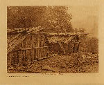 volume 13 facing: page  54 Yurok houses at Weitspus - photogravure plate
