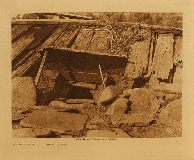 volume 13  facing: page  56 Entrance to a Yurok sweat-house