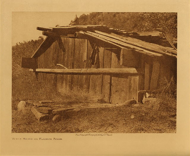 volume 13  facing: page  62 Yurok house on Klamath River
