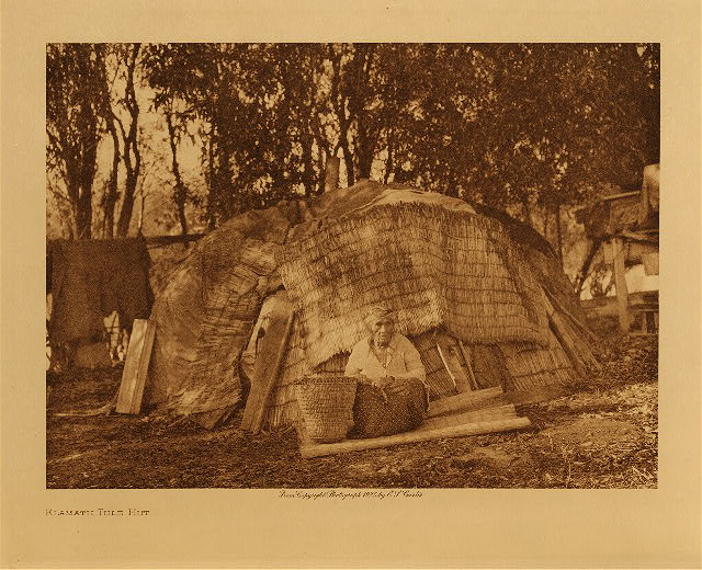volume 13  facing: page  166 Klamath tule hut