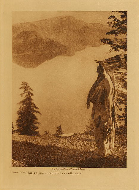 volume 13  facing: page  158 Praying to the spirits of Crater Lake - Klamath