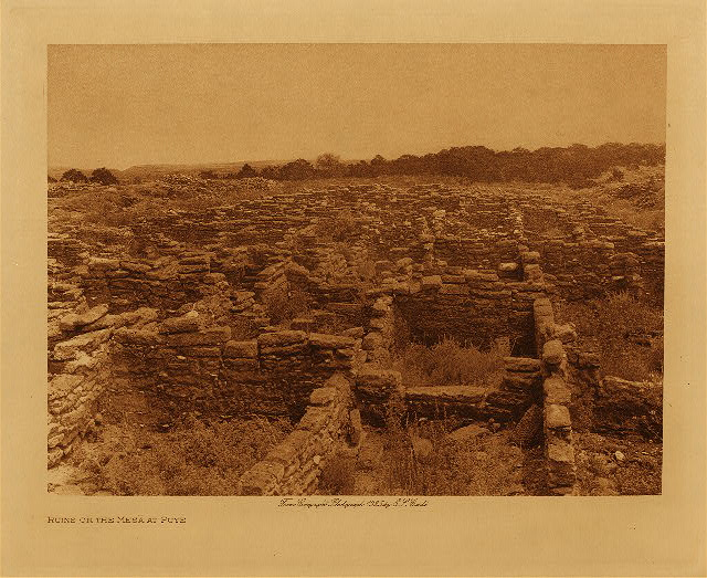 volume 17  facing: page  34 Ruins on the mesa at Puye