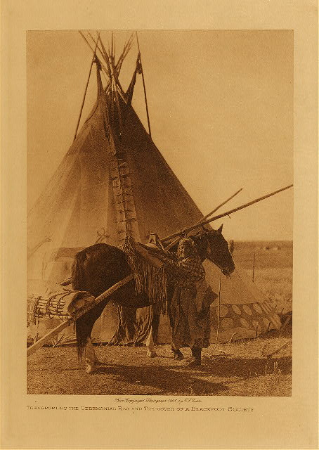 volume 18  facing: page  182 Transporting the ceremonial bag and tipi-cover of a Blackfoot society