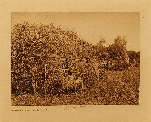 volume 19  facing: page  130 Brush huts, animal dance encampment - Cheyenne