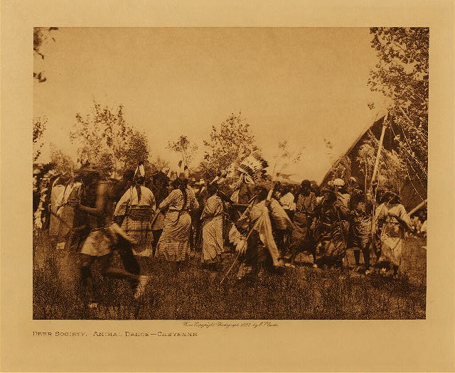 volume 19  facing: page  138 Deer society, animal dance - Cheyenne