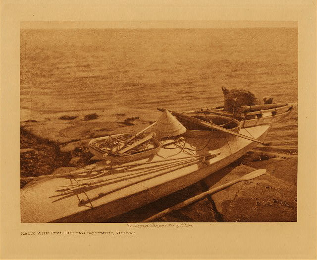 volume 20  facing: page  52 Kaiak with seal hunting equipment, Nunivak