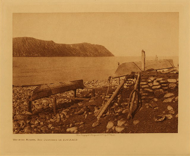 volume 20  facing: page  122 Walrus boats, Big Diomede in distance