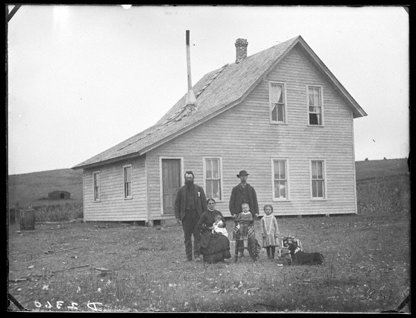 The Harvey Andrews family on their homestead two and one-half miles northwest of New Helena, Nebraska.