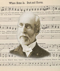 Image: George Frederick Root with a background of music