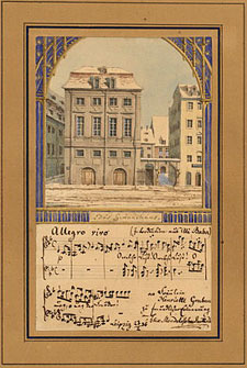 Watercolor of Gewandhaus, by Felix Mendelssohn
