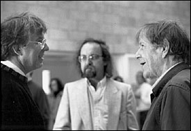Image: Roger Reynolds with Brian Ferneyhough and John Cage in Warren Studio A, UCSD
