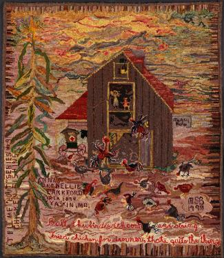 Image: Chicken Fishin', Tyaskin, Maryland  (hooked rug by Mary Shepherd Burton)
