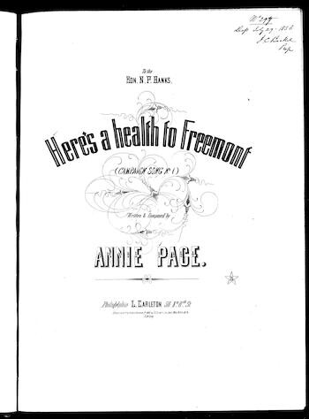 Here's a health to Freemont, or, Hurrah! For Fremont the brave [sheet music]
