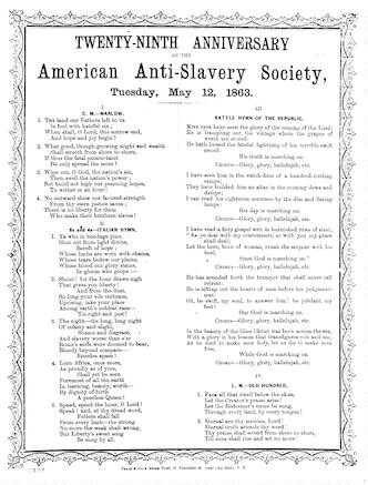 Twenty-ninth anniversary of the American Anti-slavery Society, Tuesday, May 12, 1863. Phair & Co.'s Steam Print, 11 Frankfort St. (near City Hall) N. Y [song sheet]