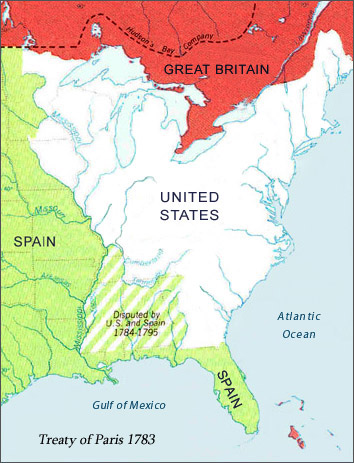 Political Boundaries of North America after the 1783 Treaty of Paris