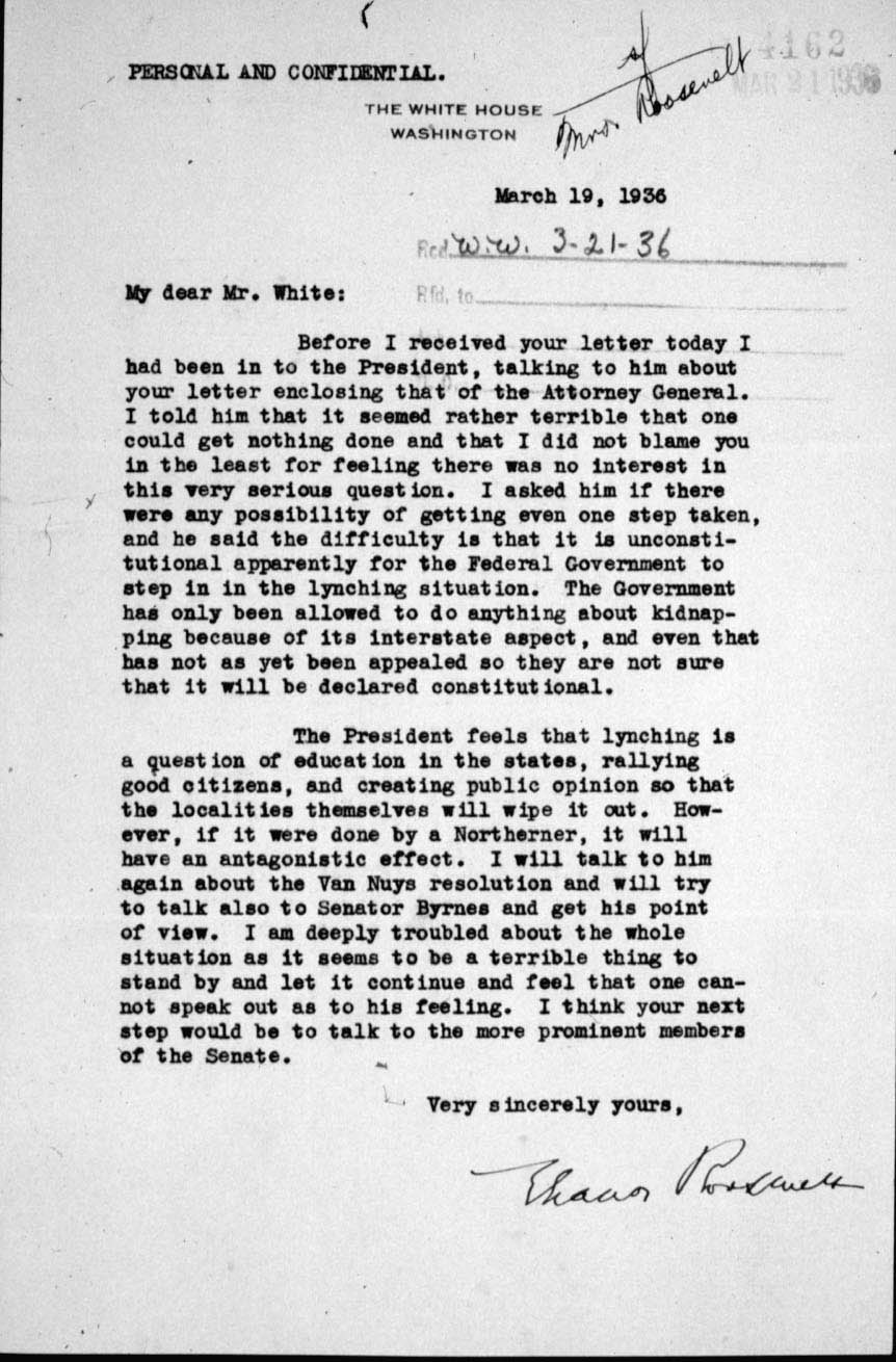 remember the ladies the first ladies edsitement letter from eleanor roosevelt to walter white