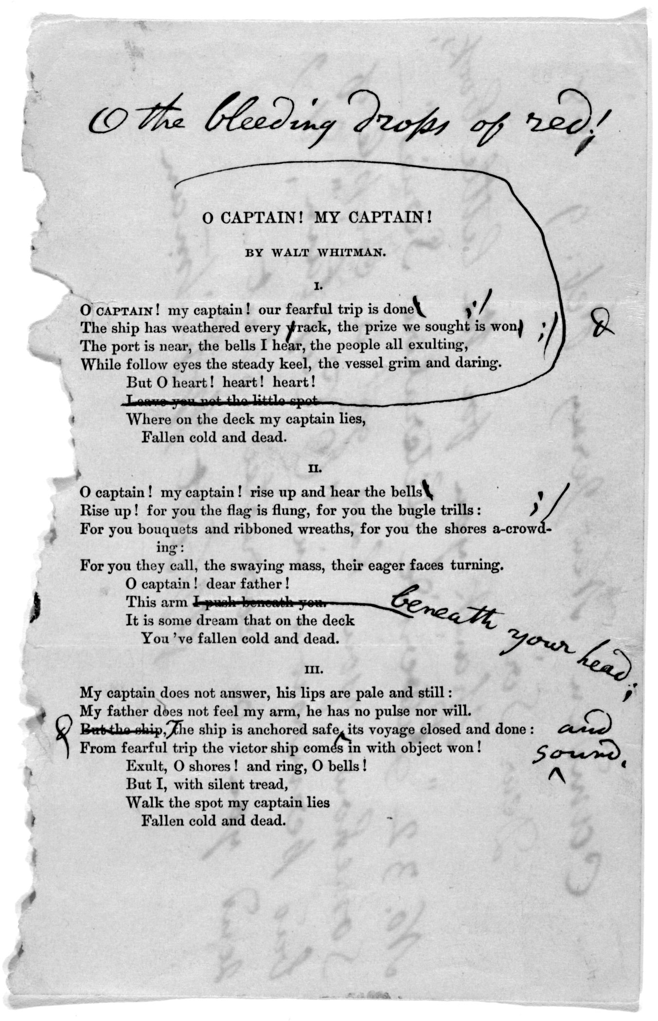 an overview of the walt whitmans poem oh captain my captain American poet walt whitman was born on long island, new york, in 1819   whitman wrote other important works, including o captain my captain, which  was a response to the death of abraham lincoln.