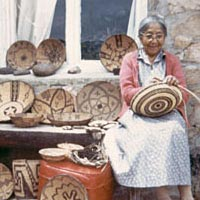 Viola Jimulla with some of her baskets, c. 1960