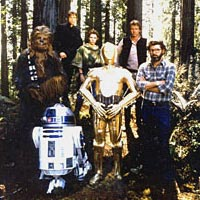 George Lucas and Star Wars characters in the woods of CA 6th District