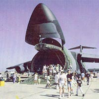 Visitors walk through C-5B Galaxy Transport Aircraft