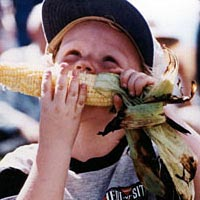 Kid enjoys roasted sweet corn at Olathe Sweet Corn Festival, 1999