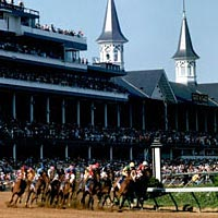First turn of the Kentucky Derby race, 1995