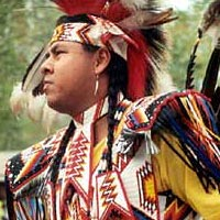 Gary Tomahsah, Comanche, prepares for dance competition, 1999