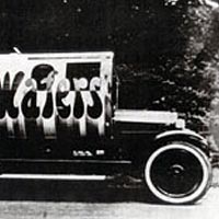 Truck shaped like Necco Roll, Detroit, 1923