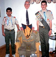 C. Edwin Becraft with Scouts Michael McCoy and Raman Gupta
