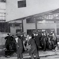 Strikers battle police, February 1937