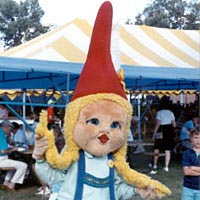 """Geli"", a costume German gnome character"