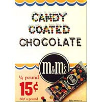 M&Ms ad from 1947, when product had clear cellophane packaging