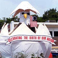 "1991 parade float, ""Celebrate America,"" an eagle hatching from an egg"