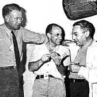 E.O. Lawrence, Enrico Fermi and I.I. Rabi, Nobel laureates who worked on the Manhattan project