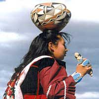 Zuni Olla maiden from New Mexico in traditional clothing at Native American Arts Festival, 1998