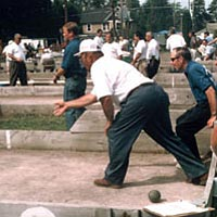 Bocce player throwing his ball at St. Rocco's Festival, Sept. 1999