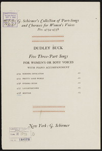 Five three-part songs Bedtime [vocal score]