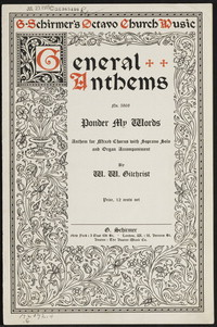 Ponder my words: anthem for mixed chorus with soprano solo and organ accompaniment. [vocal score]